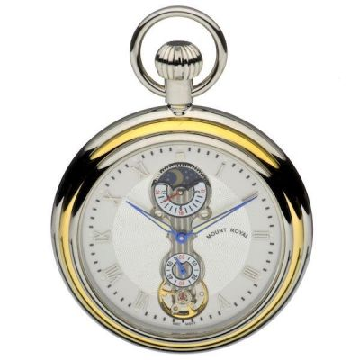 Mount Royal Open Face Sun Moon Pocket Mechanical Watch MR-B35