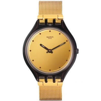 Swatch Skin Medium Skinmoka Unisexuhr in Gold SVOC100M