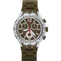 Mens Swatch Green Attack Chronograph Watch YYS4022AG