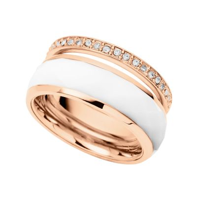 Ladies Fossil Rose Gold Plated Size K Ring Size L.5 JF01123791503