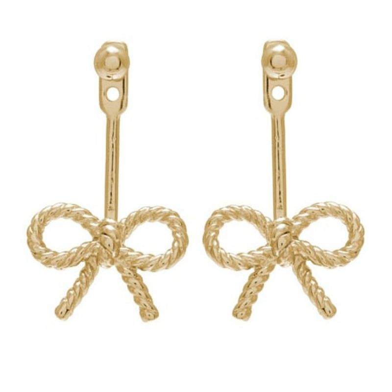 Ladies Olivia Burton Gold Plated Sterling Silver Vintage Bow Jacket Earrings OBJ16VBE04