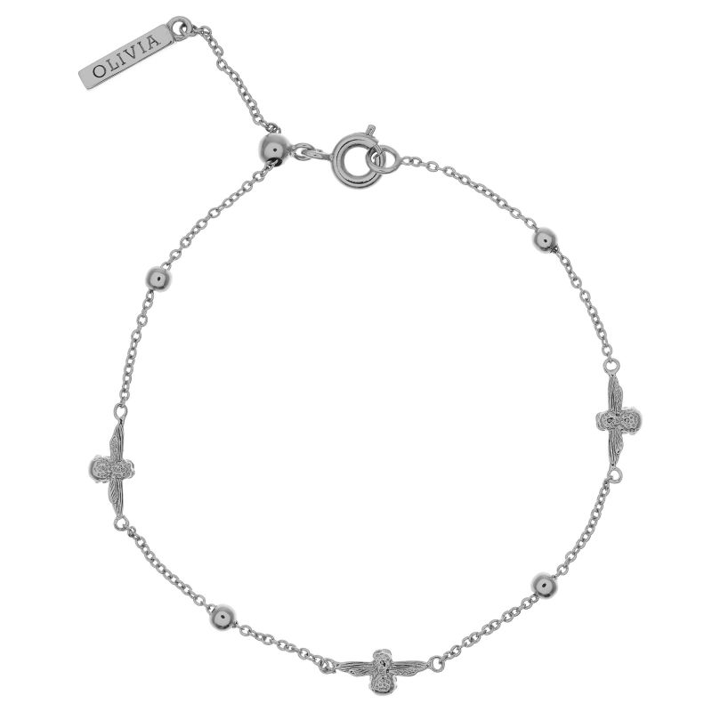 Ladies Olivia Burton Silver Plated Moulded Bee & Ball Chain Bracelet OBJ16AMB17