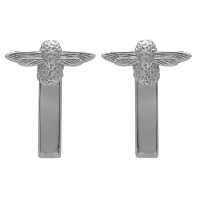 3D Bee Bar Silver Earrings OBJ16AME09