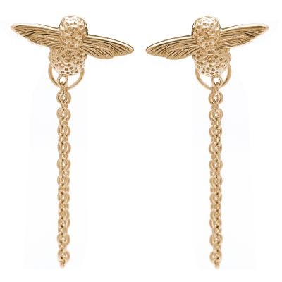 3D Bee Chain Gold Earrings OBJ16AME04