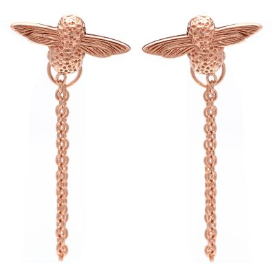 Ladies Olivia Burton Rose Gold Plated Sterling Silver Moulded Bee Chain Earrings OBJ16AME05