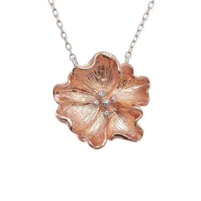 Ladies Olivia Burton Two-Tone Steel and Rose Plate Flower Necklace OBJ16FSN01