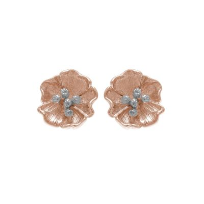 Ladies Olivia Burton Rose Gold Plated Sterling Silver Poppy Stud Earrings OBJ16FSE01