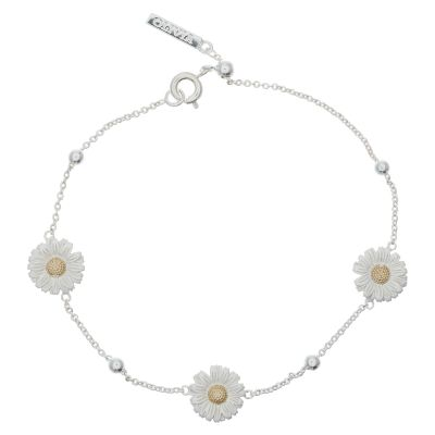 3D Daisy And Ball Chain Silver/Gold Bracelet OBJ16DAB01