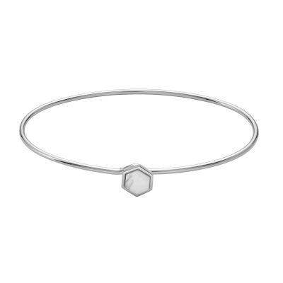 CLUSE Idylle Silver Marble Hexagon Bangle Bracelet CLJ12002