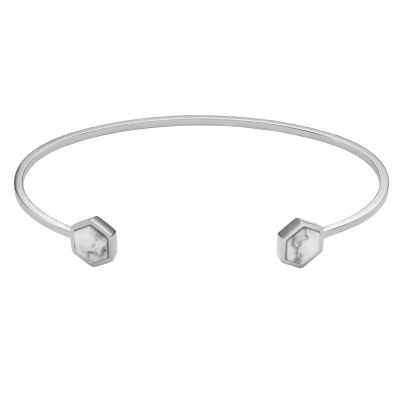 CLUSE Idylle Silver Marble Hexagons Open Cuff Bracelet CLJ12003