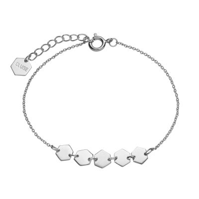 Ladies CLUSE Silver Plated Essentielle Silver ​Hexagons Chain ​Bracelet CLJ12007