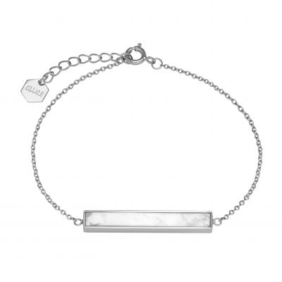 Ladies CLUSE Silver Plated Idylle ​Marble Bar Chain ​Bracelet CLJ12012