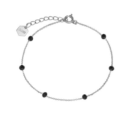 Ladies CLUSE Silver Plated Essentielle ​Black Crystals Chain ​Bracelet CLJ12013
