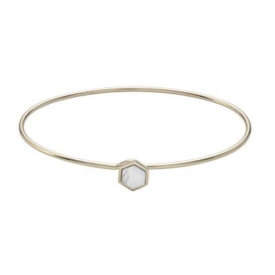 Ladies CLUSE Gold Plated Idylle ​Marble Hexagon Bangle Bracelet CLJ11002