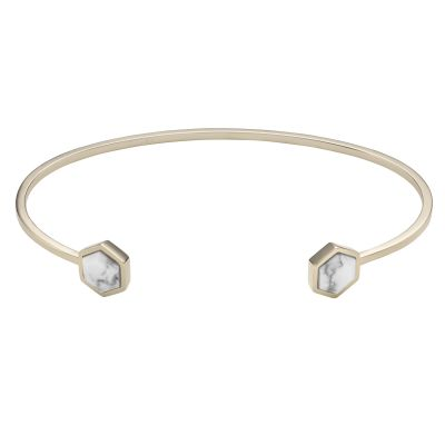 Ladies CLUSE Gold Plated Idylle ​Marble Hexagons Open Cuff Bracelet CLJ11003