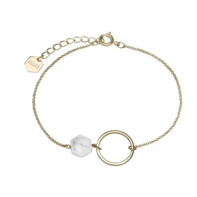 Ladies CLUSE Gold Plated Idylle Open Circle Marble Hexagon ​Chain Brace CLJ11008