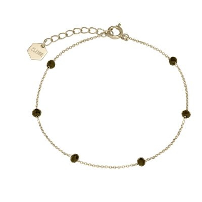 Ladies CLUSE Gold Plated Essentielle Black Crystals Chain ​Bracelet CLJ11013