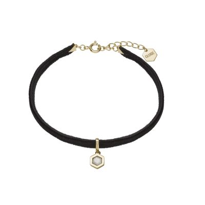 Ladies CLUSE Gold Plated Amourette ​Black​ Velvet ​and Marble Pendant Bracelet CLJ13002