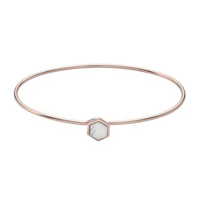 Ladies CLUSE Rose Gold Plated Idylle Marble Hexagon Bangle Bracelet CLJ10002