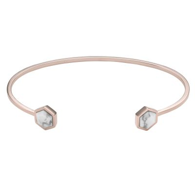 Ladies CLUSE Rose Gold Plated Idylle Marble Hexagons​ Open ​Cuff CLJ10003