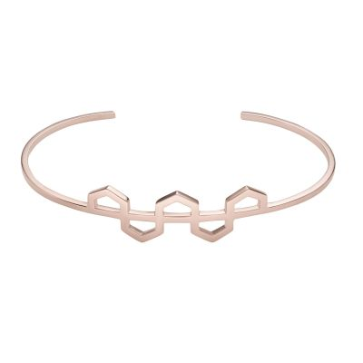 Ladies CLUSE Rose Gold Plated Essentielle Hexagons Pattern Cuff Bracelet CLJ10004