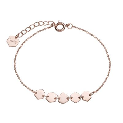 Ladies CLUSE Rose Gold Plated Essentielle Hexagons Chain ​Bracelet CLJ10007