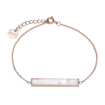 Ladies CLUSE Rose Gold Plated Idylle Marble Bar Chain ​Bracelet CLJ10012