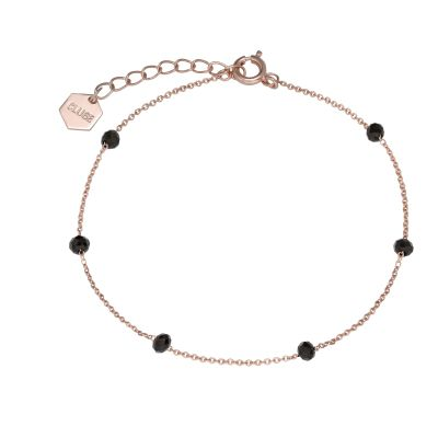 Ladies CLUSE Rose Gold Plated Essentielle Black Crystals Chain Bracelet CLJ10013