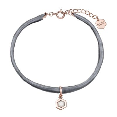 Ladies CLUSE Rose Gold Plated Amourette ​Grey Velvet ​and Marble Pendant Bracelet CLJ13001