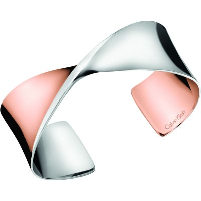 Calvin Klein Dames Supple Bangle Tweetonig staal en verguld Rose KJ7SPF20030S