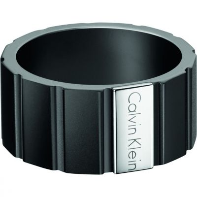 Mens Calvin Klein Black Ion-plated Steel Size T/U Plate Ring Size U KJ5SBR280110