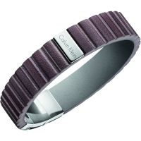 Mens Calvin Klein Stainless Steel Plate Leather Bracelet KJ5SCB090100