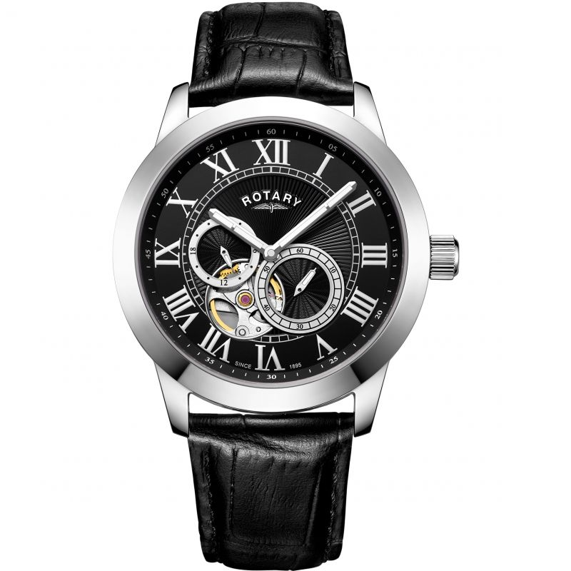 Mens Rotary Exclusive Open Heart Automatic Watch