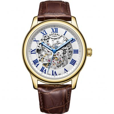 Rotary Exclusive Skeleton Herrklocka Brun GS00626/21