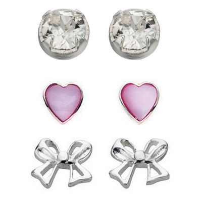 Ladies Beginnings Sterling Silver Stud Earring Set WS-SET5