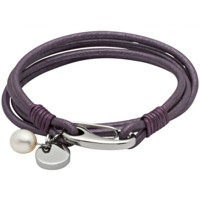 Ladies Unique & Co Stainless Steel Berry Leather Bracelet B67BE/21CM