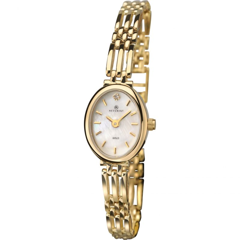 Ladies Accurist Gold 9ct Gold Diamond Watch