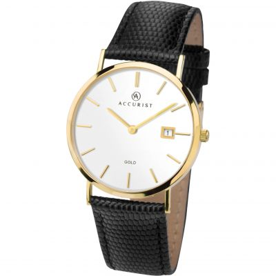 Mens Accurist Gold 9ct Gold Watch 7801