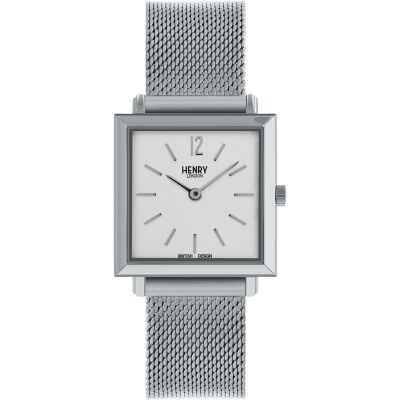 Henry London Heritage Square Damenuhr in Silber HL26-QM-0265