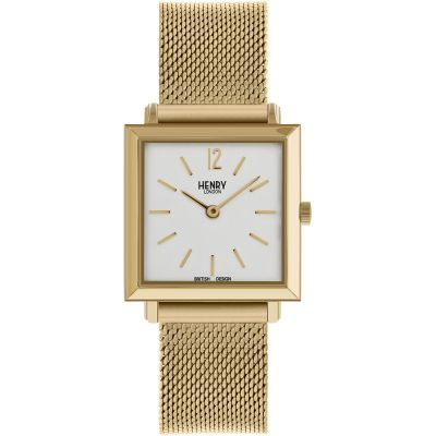 Henry London Heritage Square Damenuhr in Gold HL26-QM-0266