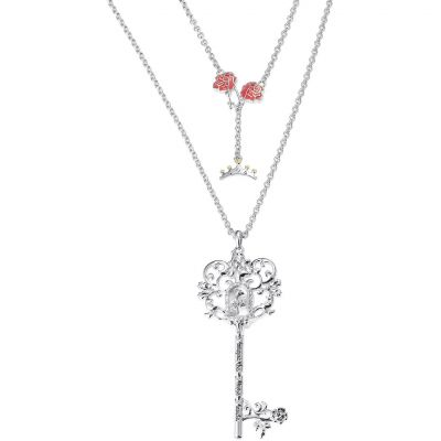 Ladies Disney Couture Silver Plated Belle Statement Key Necklace DSN352