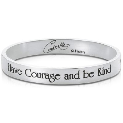 Ladies Disney Couture Silver Plated Cinderella Message Bangle DSB373