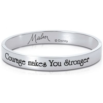 Ladies Disney Couture Silver Plated Mulan Message Bangle DSB375
