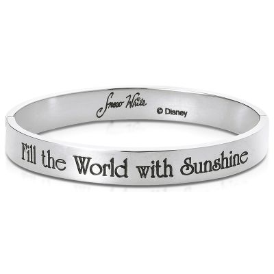 Ladies Disney Couture Silver Plated Snow White Message Bangle DSB349