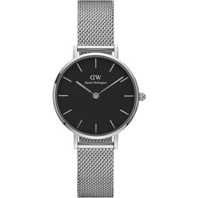 Daniel Wellington Classic Petite 28 Sterling Black Damenuhr in Silber DW00100218