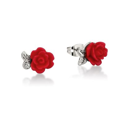 Ladies Disney Couture White Gold Plated Beauty & the Beast Enchanted Red Rose Stud DSE0810R