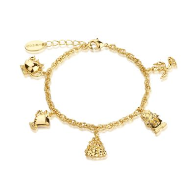 Ladies Disney Couture Gold Plated Beauty & the Beast Characters Charm Bracelet DYBR332
