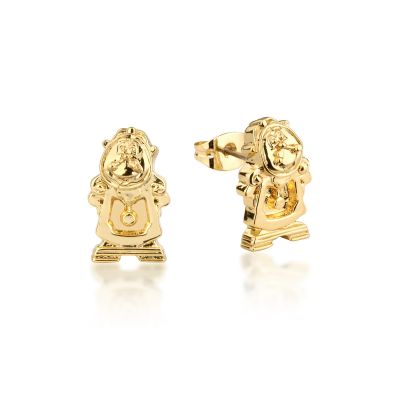 Ladies Disney Couture Gold Plated Beauty & the Beast Cogsworth Stud Earrings DYE228