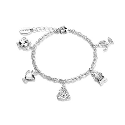 Ladies Disney Couture White Gold Plated Beauty & the Beast Characters Charm Bracelet DSBR332