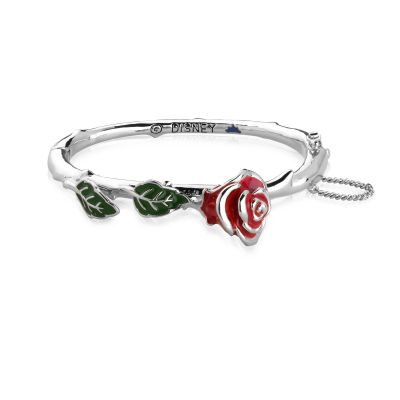 Ladies Disney Couture White Gold Plated Beauty & the Beast Enchanted Red Rose Bangle DSB321